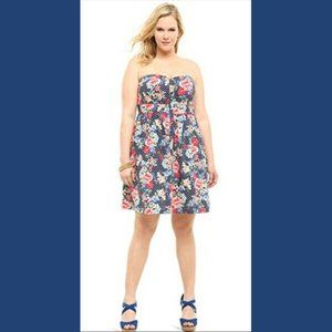 Torrid 0X Strapless Dotted Floral Dress Cotton